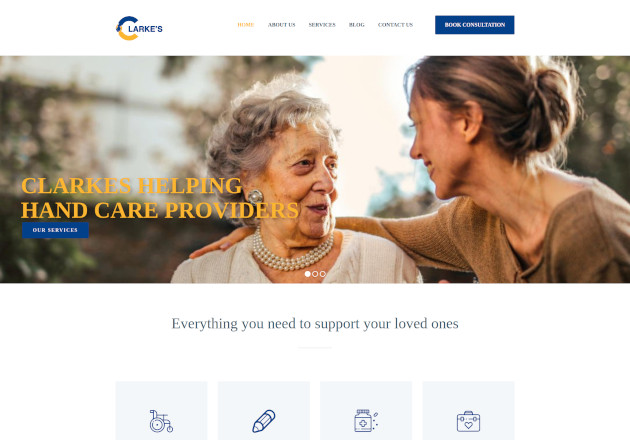 Clarke's helping hand care providers website design by anchor monkey
