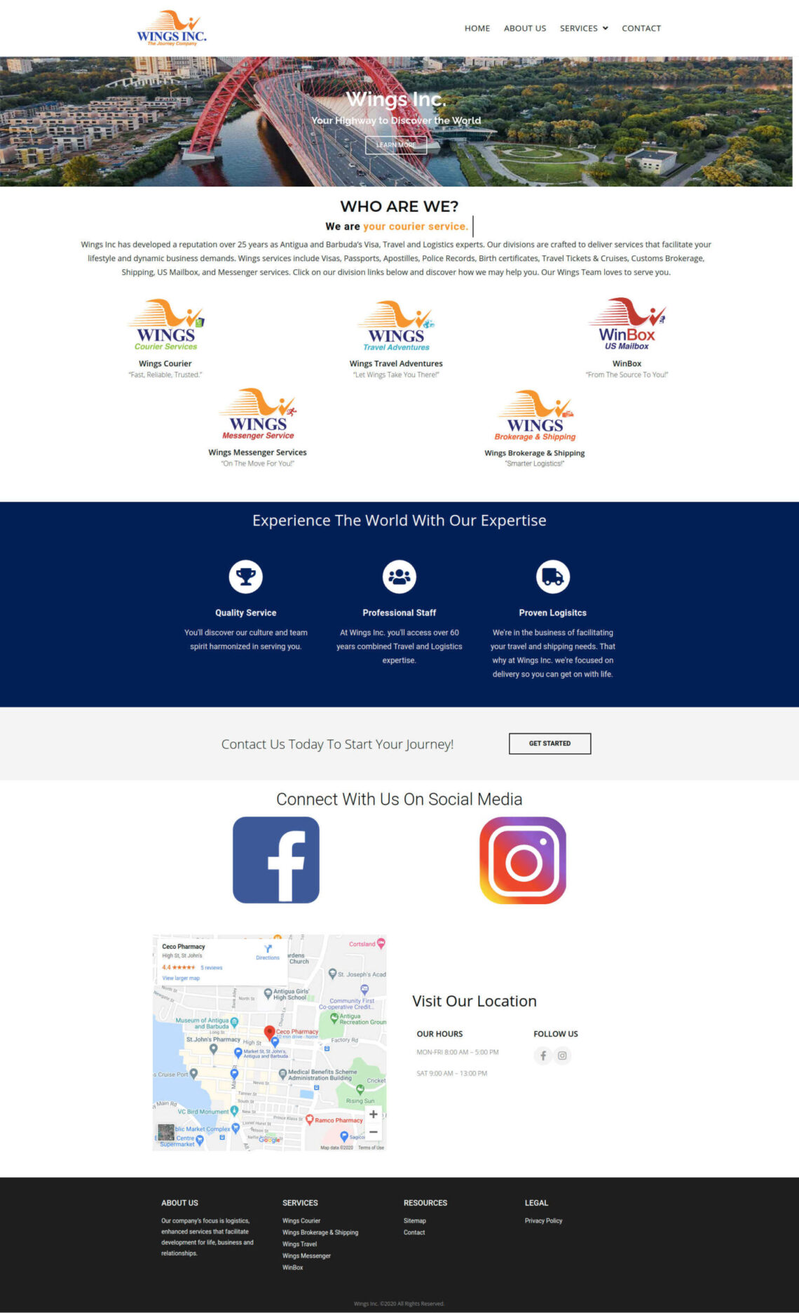 Wings Inc. Antigua Website Design by Anchor Monkey